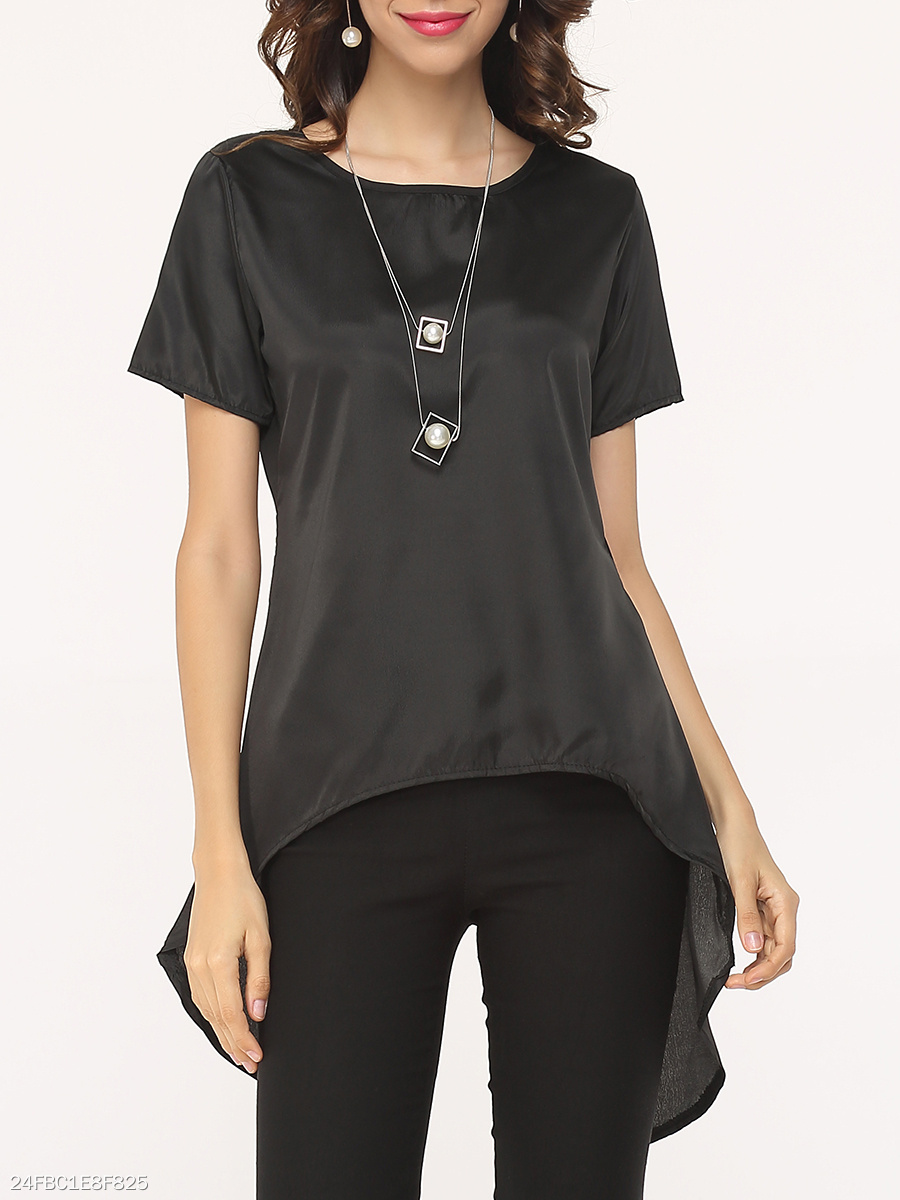 Hollow Out Plain Asymmetrical Hems Fabulous Round Neck Shirt