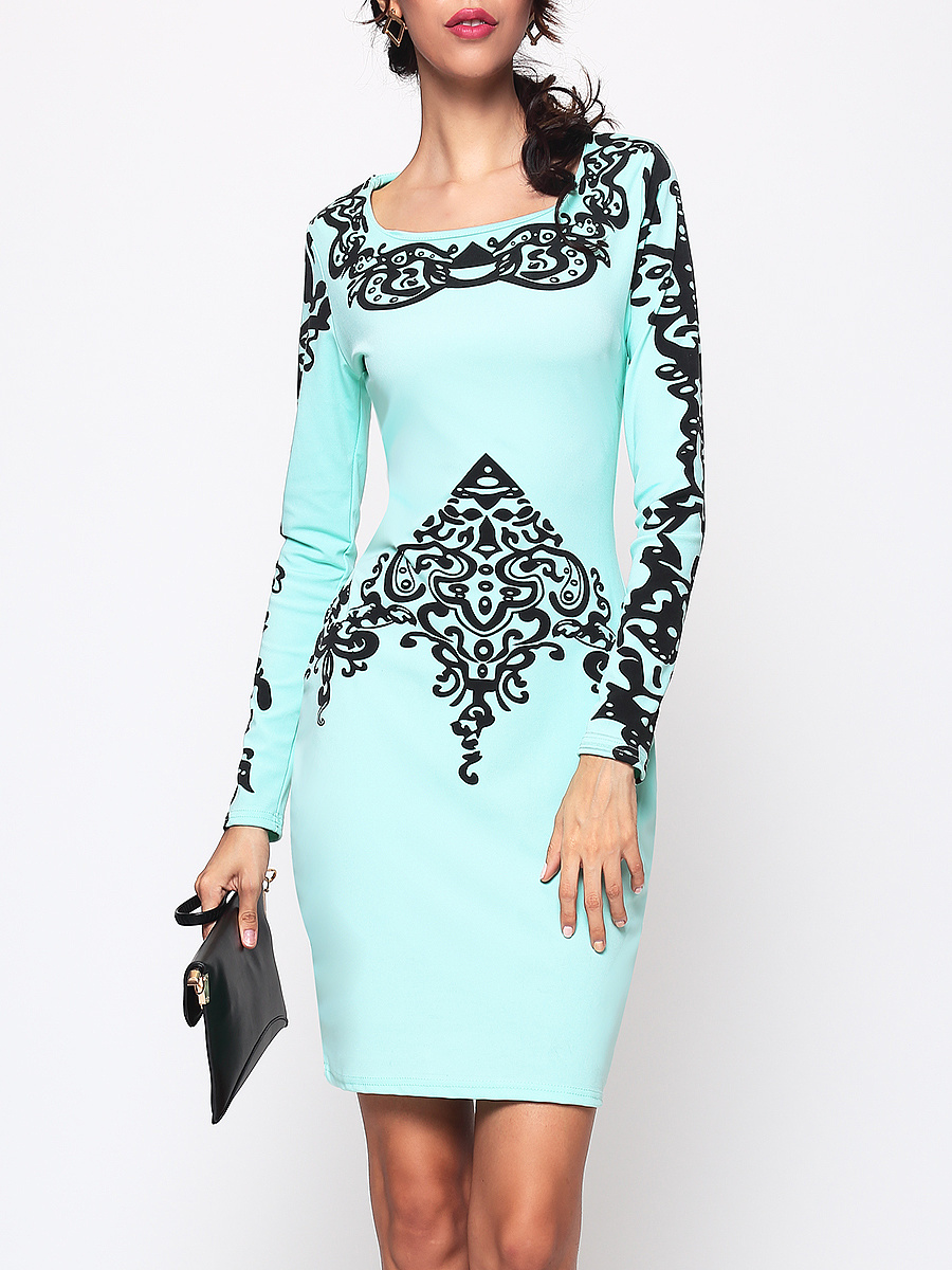 Totems Boat Neck Printed Bodycon Dress
