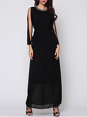 Plain Split Sleeve Elegant Maxi-dress