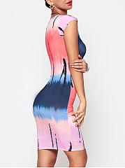 Tie-Dyed Gradient Crew Neck Bodycon-Dress