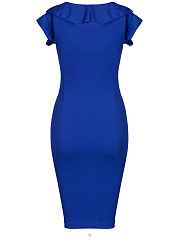 Bowknot Flounce Zips Plain Bodycon Dress