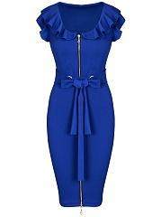 Bowknot-Flounce-Zips-Plain-Bodycon-Dress