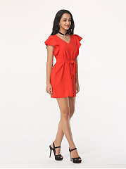 Plain Batwing Falbala Elegant V Neck Bodycon-dress