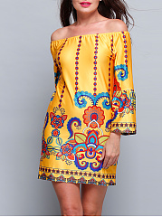 Yellow-Bohemian-Printed-Off-Shoulder-Shift-Dress