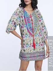 Bohemian Charming V Neck Shift Dress