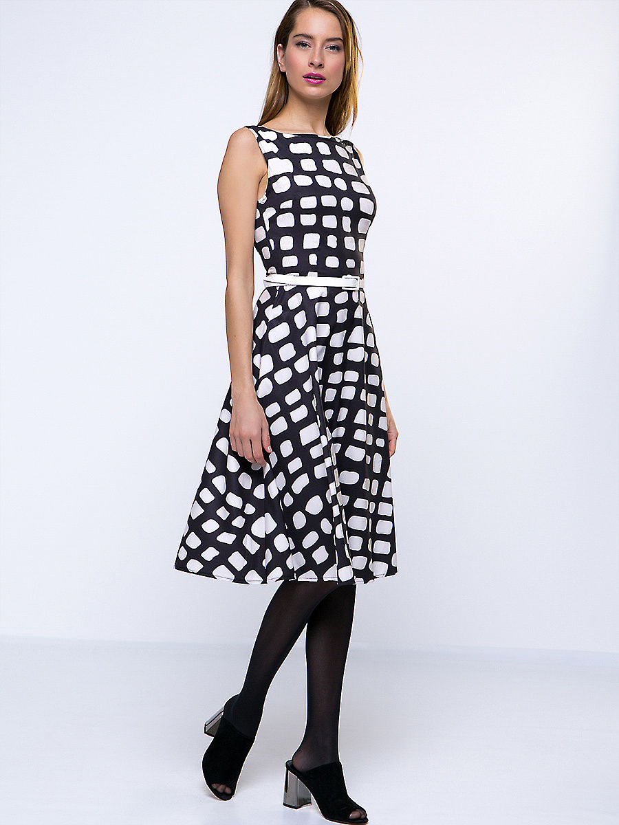 Black White Color Block Boat Neck Skater Dress