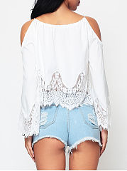 Hollow Out Lace Patchwork Plain Charming Off Shoulder Blouse