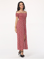 Floral Side Slit Fantastic One Shoulder Maxi-dress