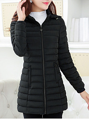 Basic Hooded Quilted Pocket Plain Padded Coat