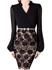 Ladylike-Band-Collar-Lace-Patchwork-Bodycon-Dress