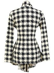 Appealing  Houndstooth  Printed Trench-Coats
