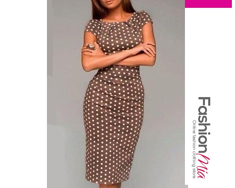 Image of Appealing Pleated Polka Dot Bodycon-Dress