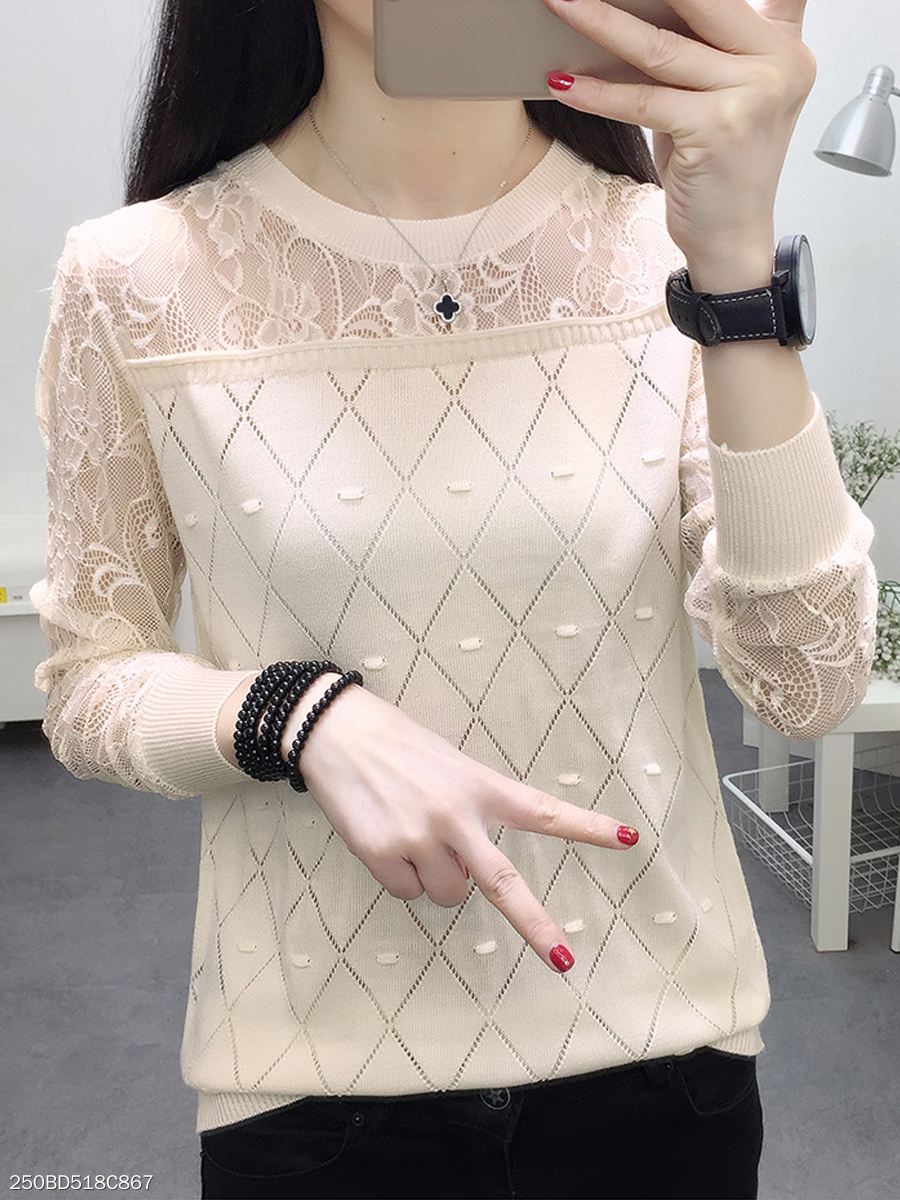 Round Neck  Decorative Lace  Plain  Long Sleeve Sweaters Pullover