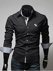 Turn-Down-Collar-Single-Breasted-Office-Men-Shirt