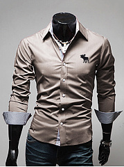 Turn Down Collar Single Breasted Office Men Shirt