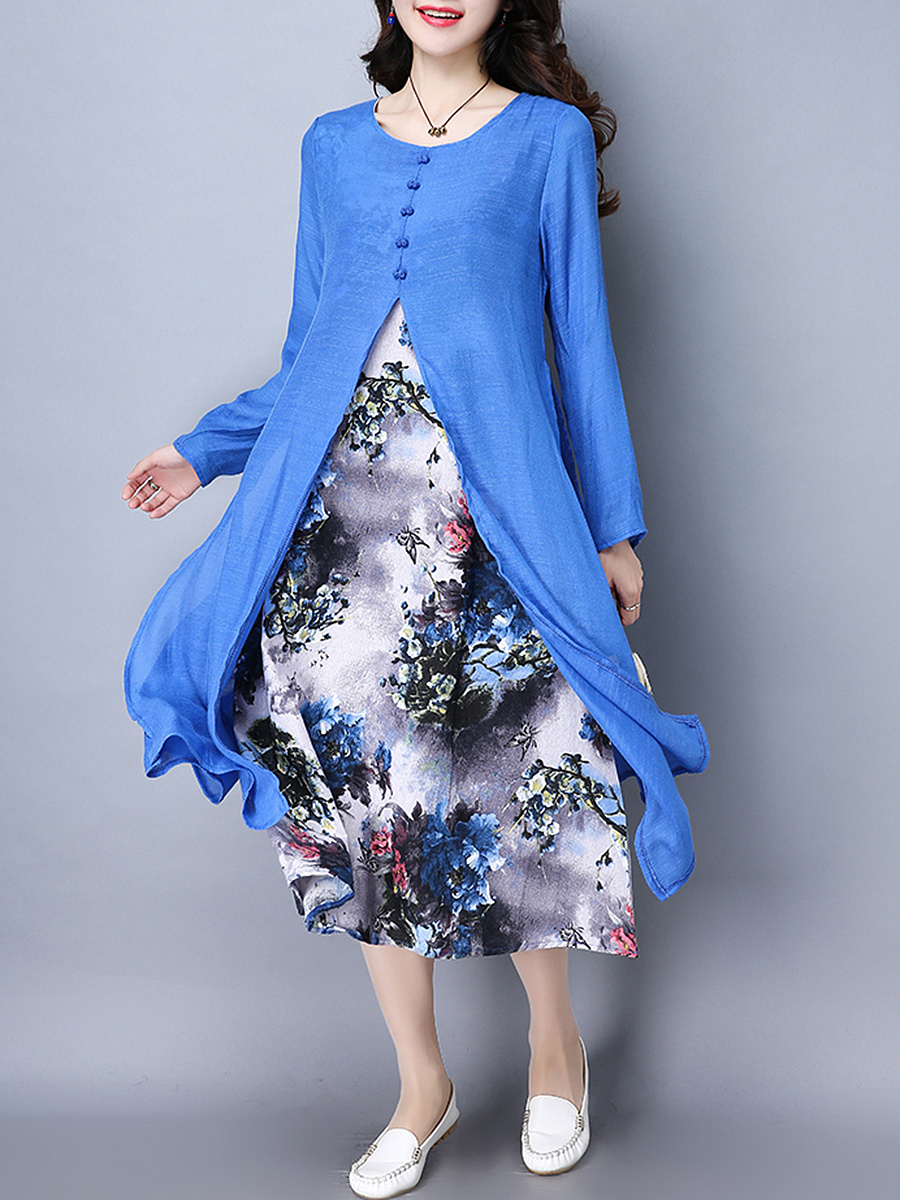 Round Neck  Floral Printed Double Layer Maxi Dress