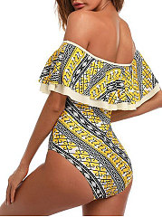 Geometric Off-Shoudler One Piece
