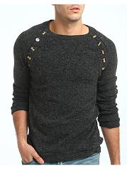 Round-Neck-Decorative-Button-Plain-Mene28099S-Sweater