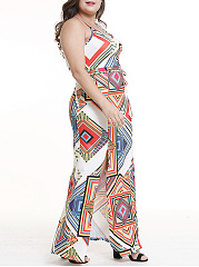 Spaghetti Strap  Side Slit  Geometric Plus Size Midi & Maxi Dress