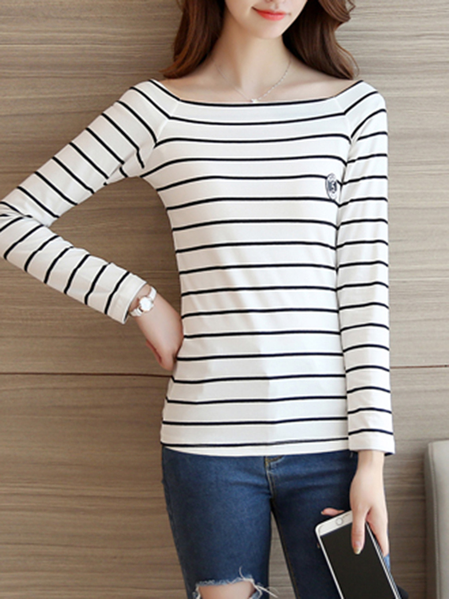 Boat Neck Striped Long Sleeve T-Shirt