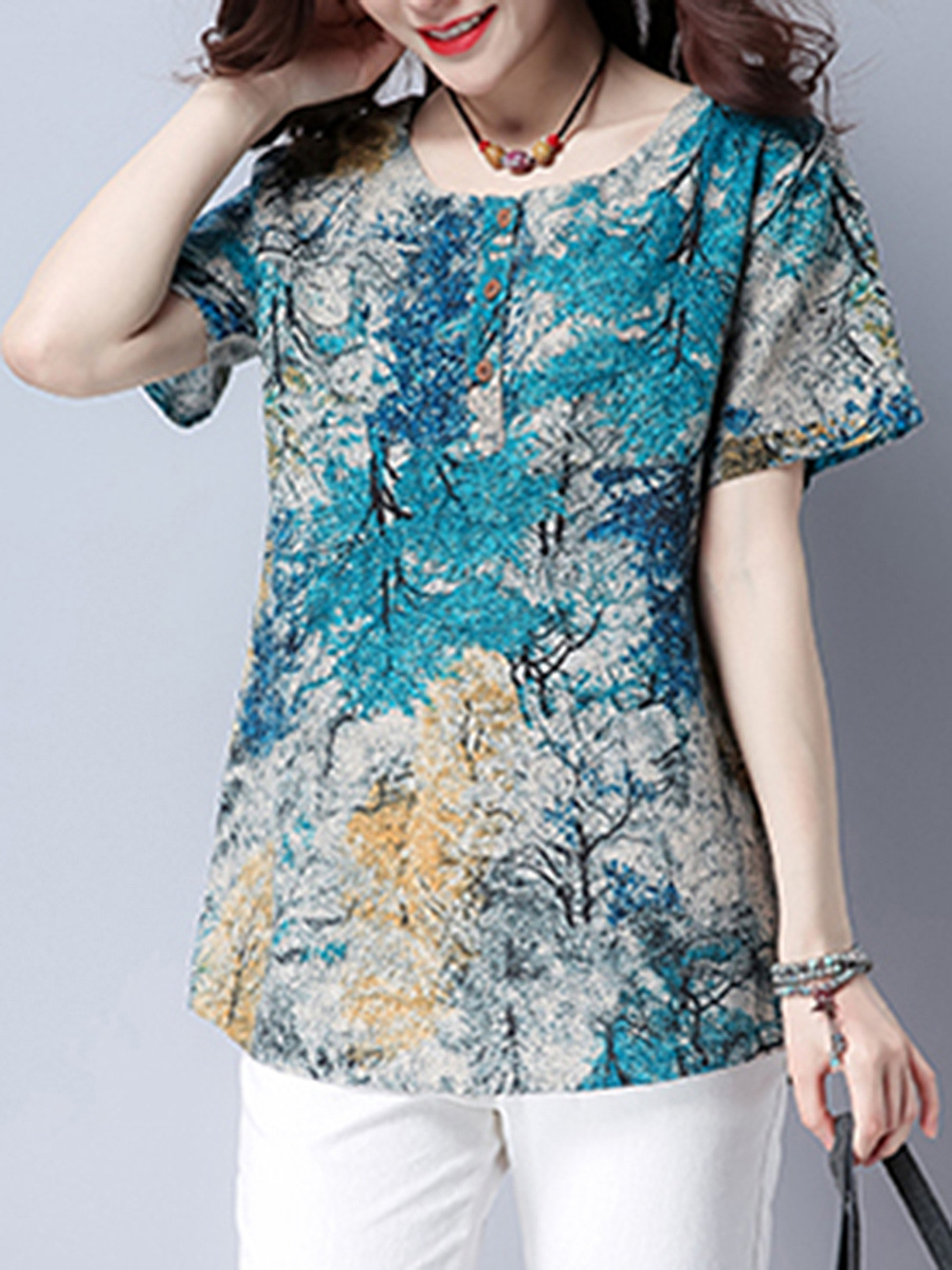 Round Neck Printed Short Sleeve T-Shirt