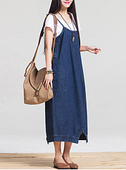 Spaghetti Strap  Patch Pocket  Multi-Way  Plain Maxi Dress