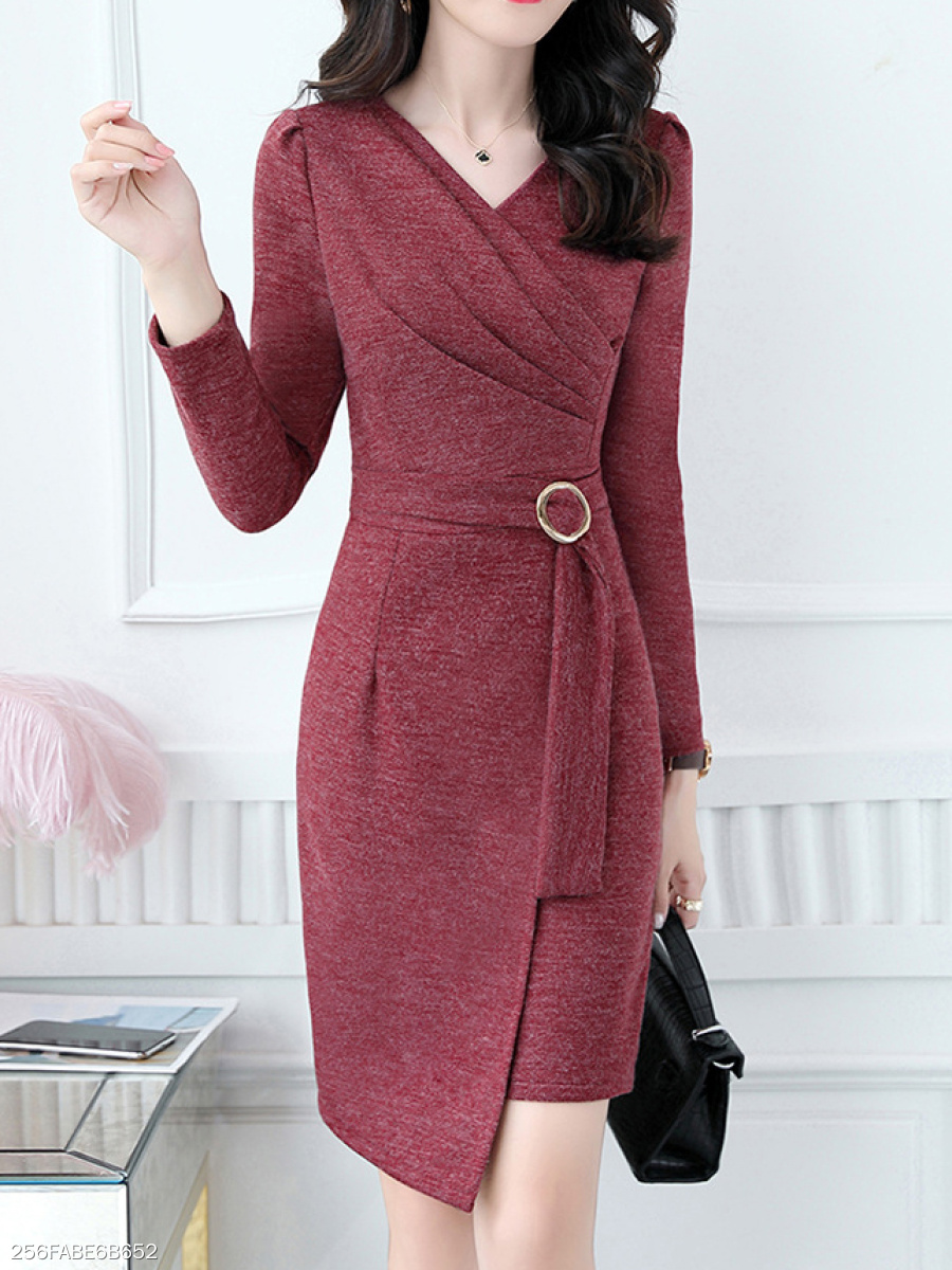 Surplice  Asymmetric Hem  Single Button  Plain Bodycon Dress