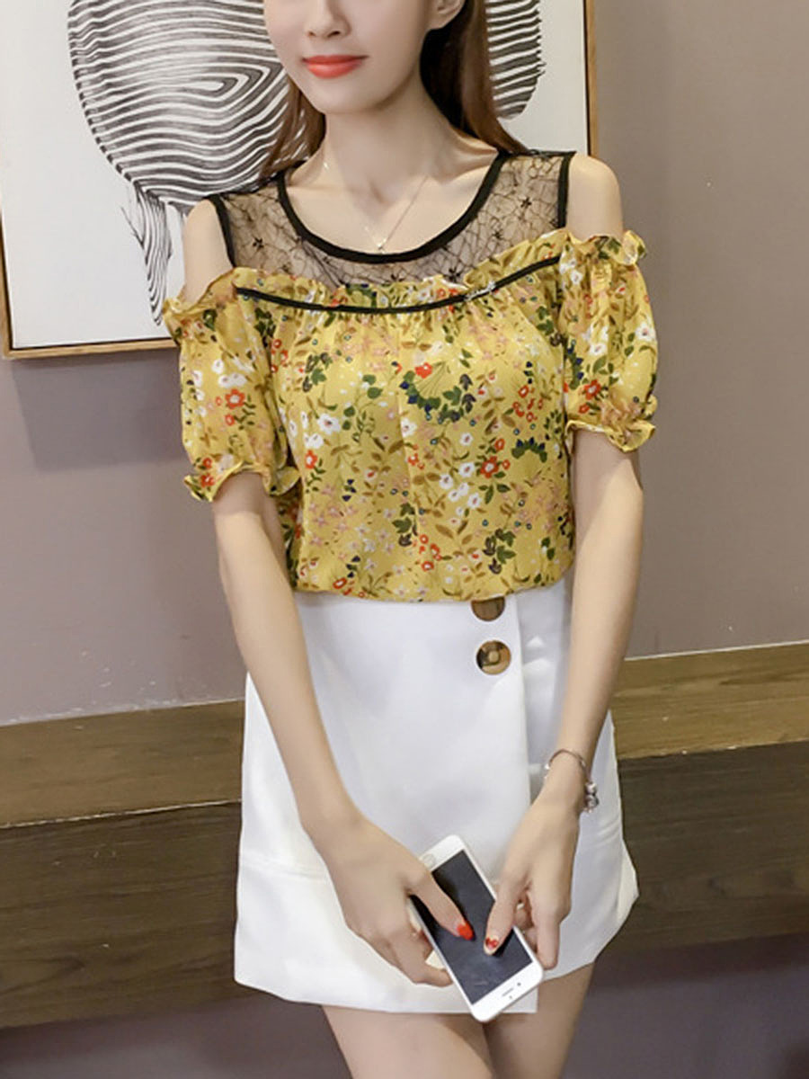 Lovely Open Shoulder  Floral Hollow Out Blouse