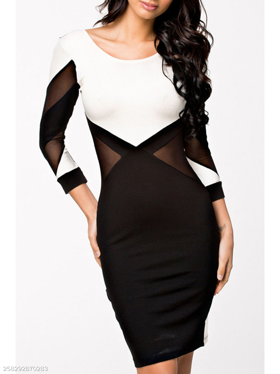 Scoop Neck  Backless Patchwork  Color Block Bodycon Dresses