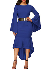 Bell-Sleeve-Belt-Plain-High-Low-Mermaid-Maxi-Dress