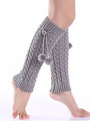 Bowknot Fur Ball Knit Leg Warmers