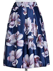 Floral-Printed-Elastic-Waist-Flared-Midi-Skirt