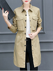 Lapel Elastic Waist Flap Pocket Plain Trench Coat