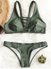 Padded Lattice Front Bathing Suit
