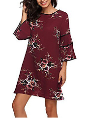 Round Neck  Contrast Trim  Printed Shift Dress