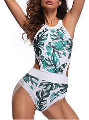 European Style Green Printed One Piece