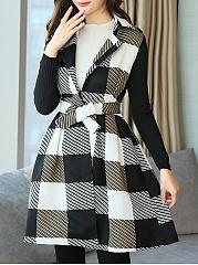Lapel-Plaid-Patchwork-Belt-Woolen-Swing-Coat