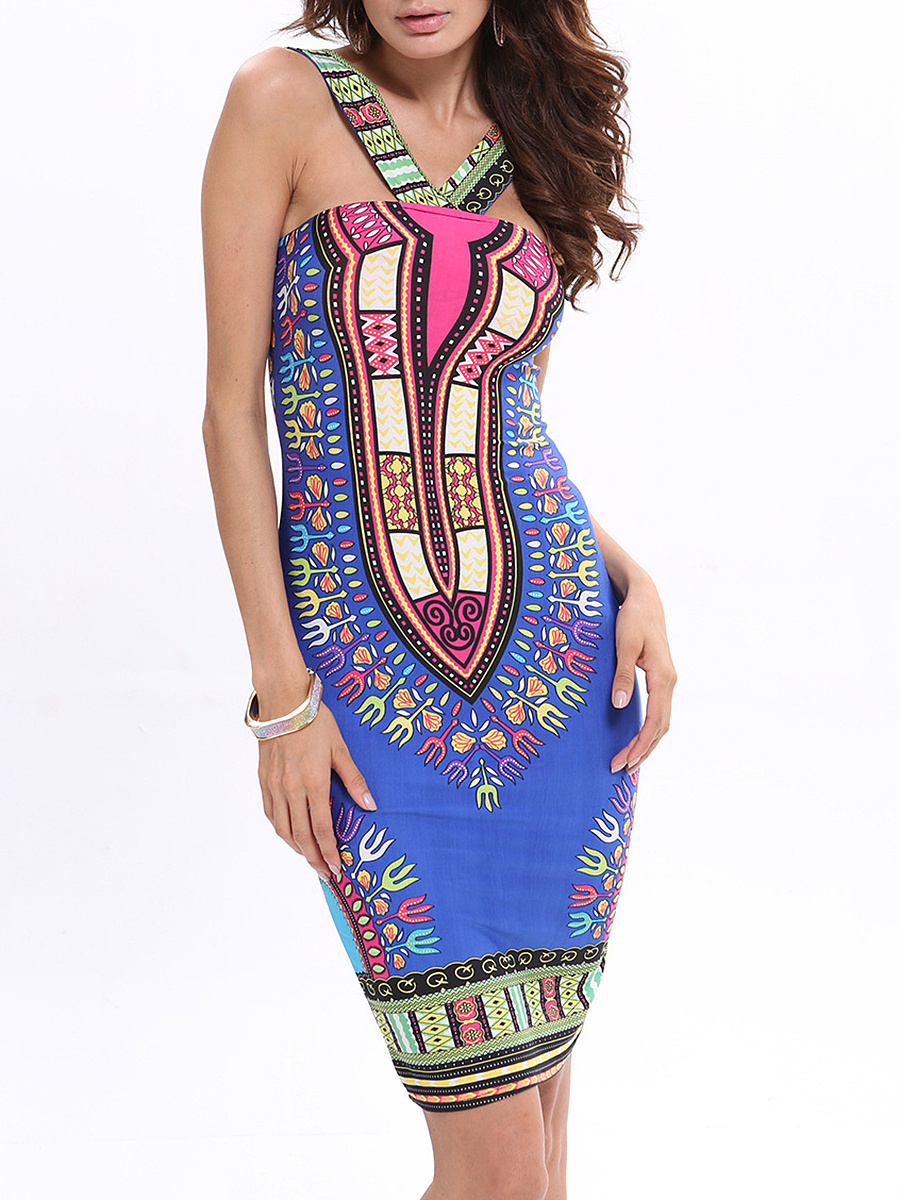 Designed Unique V-Neck Bodycon Dress In Tribal Printed