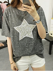 Summer  Polyester  Women  Round Neck  Glitter  Star Short Sleeve T-Shirts