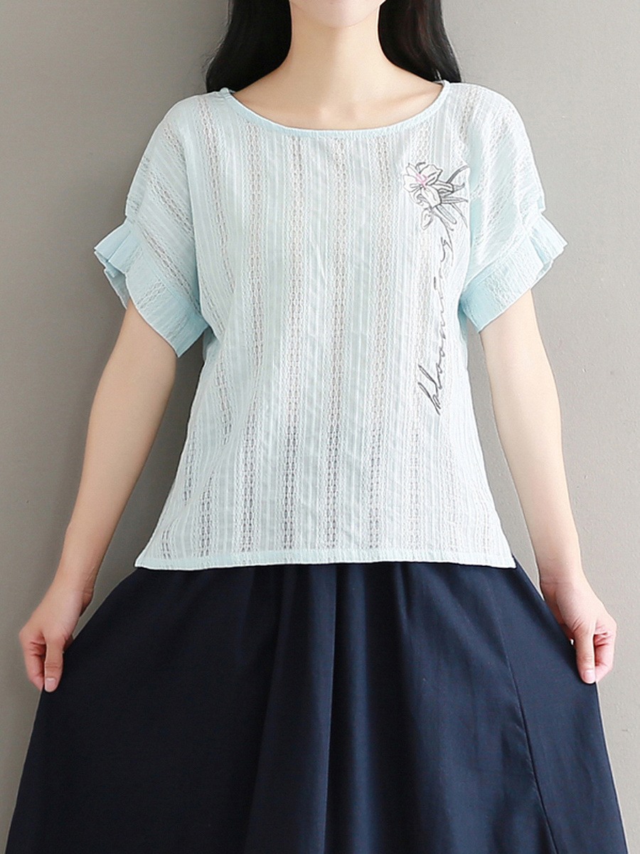 Embroidery Round Neck Side-Vented Short Sleeve T-Shirt