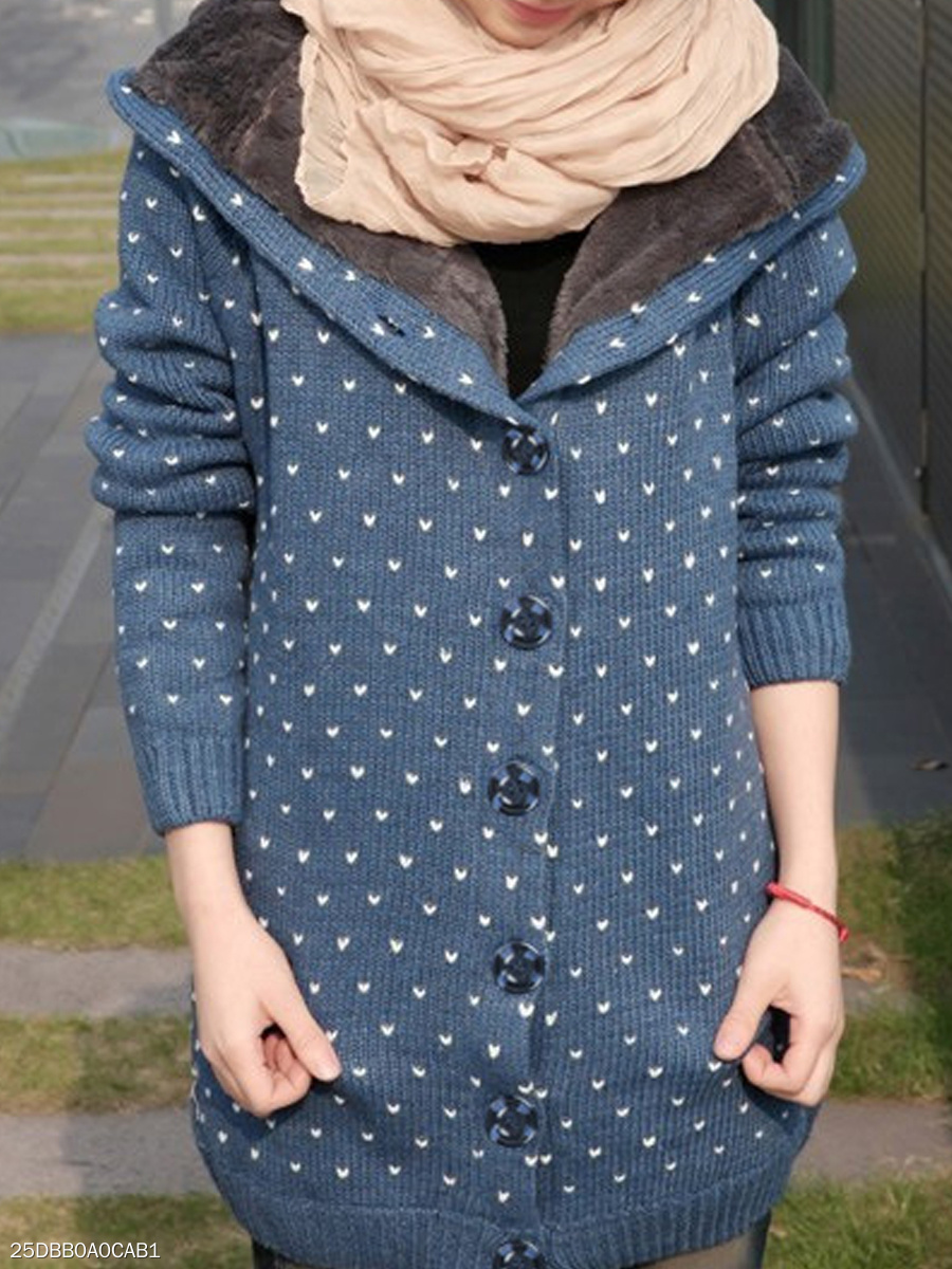 Hooded  Single Breasted  Polka Dot  Long Sleeve Coats