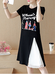 Round Neck Cartoon Letters Printed Skater Dress
