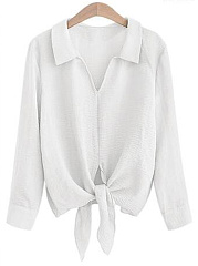 V-Neck Tie-Front Plain Blouse