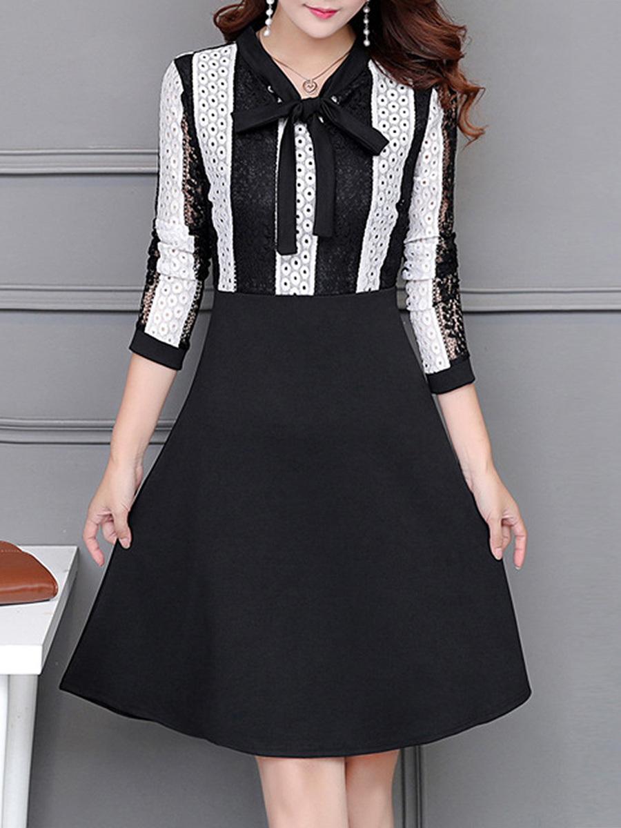 Tie Collar  Hollow Out Vertical Striped Skater Dress