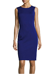 Round-Neck-Plain-Slit-Sleeveless-Bodycon-Dress