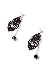 Beads Pendant Long Lace Earrings