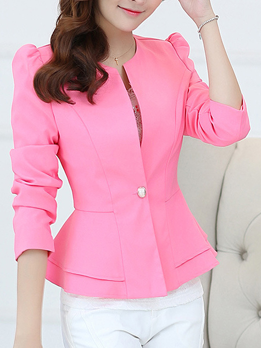 Plain Peplum Single Button Puff Sleeve Blazer