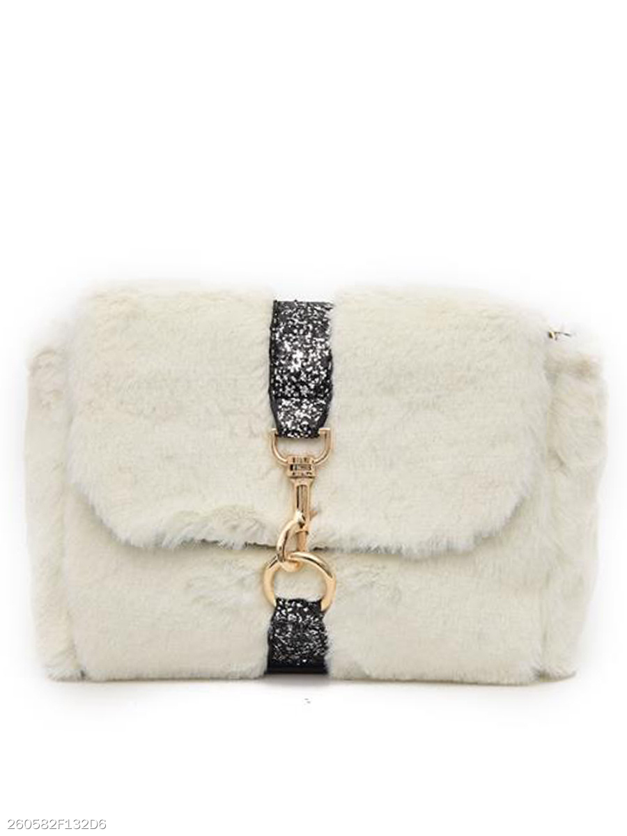Exclusive Elegance Faux Fur Chein Crossbody Bag