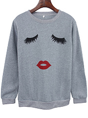 Round Neck Eyelash Lip Printed Sweatshirt
