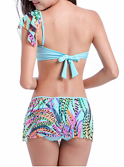 Colorful Feather Printed One Shoulder Flounce Bikini